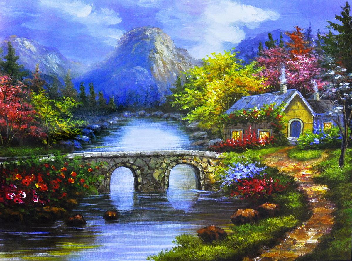 油畫房子圖片大全