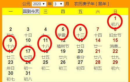 2020年3月份搬家吉日一览表