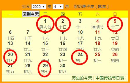 2020年4月份搬家吉日一览表