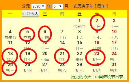 2020年5月份搬家吉日一览表