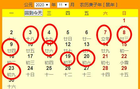 2020年11月份搬家吉日一览表
